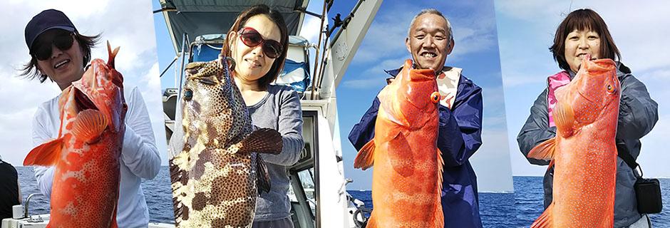 那覇空港近く、沖縄本島南部の糸満フィッシャリーナから出港する体験フィッシング。空いた時間でできる2時間の体験コース(乗合)から、半日4時間のチャーターコースなど、全てのコースで、これまでになかった大物釣り(アカジン等の大型のハタ類)に挑戦します。前半は、通常の体験フィッシング。そして後半はその釣れたお魚をエサに一発大物に挑戦します。